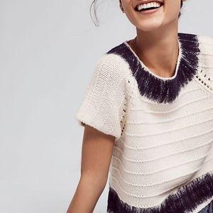 Anthropologie Feltwork Cropped Knit Sweater